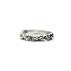 Large Oxidised Twig Ring