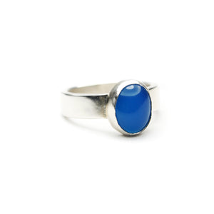 Large Oval Blue Agate Ring