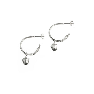 Small Twig Hoops with Baby Acorn Charms