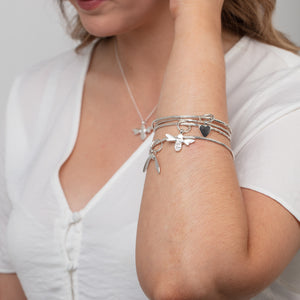 Twig Bangle with Baby Heart Charm