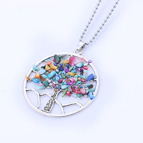 Natural Tree Pendant Necklace / Multicolor Tree of Life Quartz Necklace