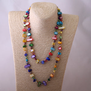 Colored Shell Necklace / Rainbow Knotted Long Necklace