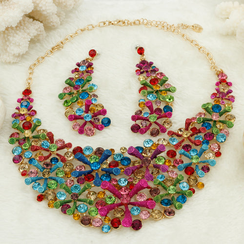Exquisite Luxury Ethnic Rainbow Necklace Set / Earrings Included