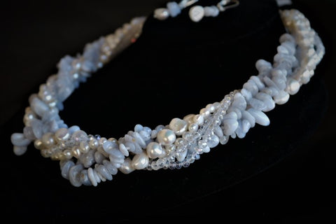 Agate and Pearls Luxe Necklace, Luxury Fashion