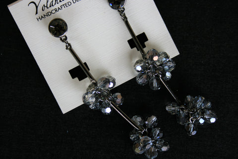 Yolanta Collection - Smoke Swarovski Floral Dangles