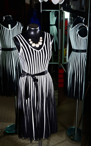 Cartise - Black and White Stripes Dress