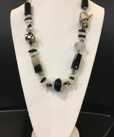 Maya Trunk Show #7 Necklace Black/White Bead/ Cubes/Stones