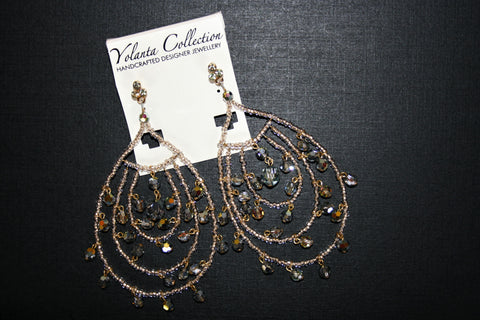 Yolanta Collection - Gold and Smoke Chandelier Earrings
