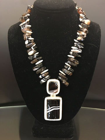Maya Trunk Show #4 Necklace Black/Brown White Stone Pendant