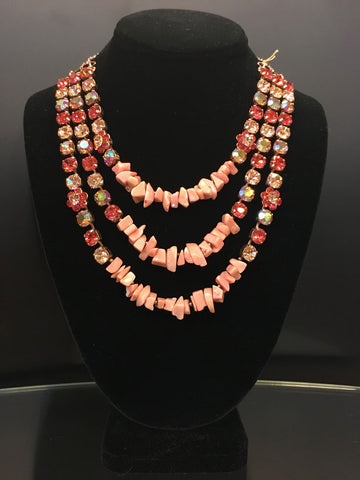Necklace Multi Chain- Peach Stones