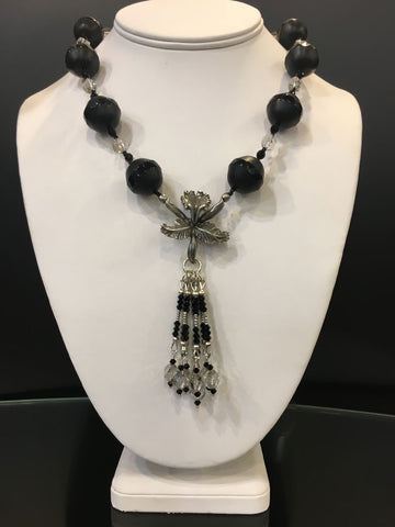 Maya Trunk Show #15 Necklace Hibiscus Flower/ Black Beads