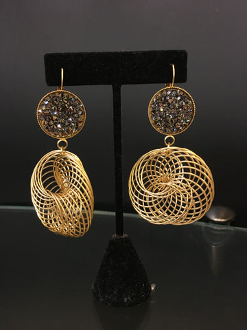 Gold Disks Earrings