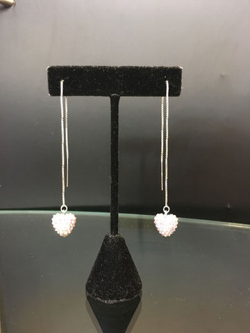 Emily Austin Earrings Silver Clasp/ Swarovski Crystal Pull through- doulbe dangle