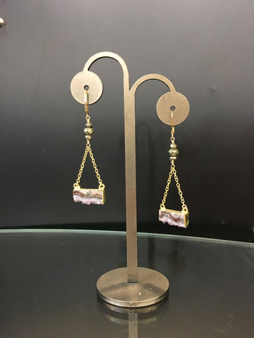 Gold Clasp-dangle polished druzy pirite Earrings
