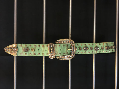 Studded Crystals on Green Leather Belt