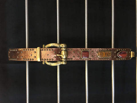 Leatherock - Studded Gem Brown Leather Belt