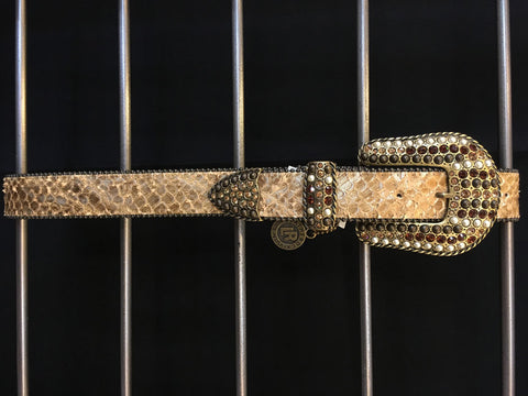 Leatherock - Tan Leather Swarovski Accent Belt