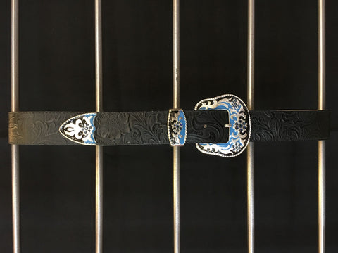 Leatherock - Black Leather Blue Navy Belt