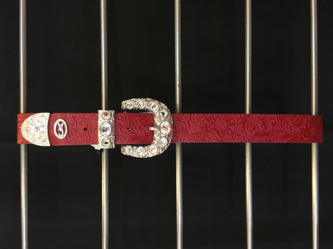 Christine Alexander Belt - Red Leather Swarovski Accent