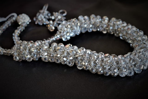 Faceted Smoke Crystal Necklace, Luxury Fashion