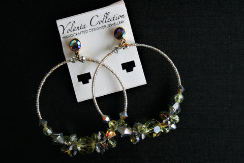 Yolanta Collection - Kiwi Green Swarovski Hoops