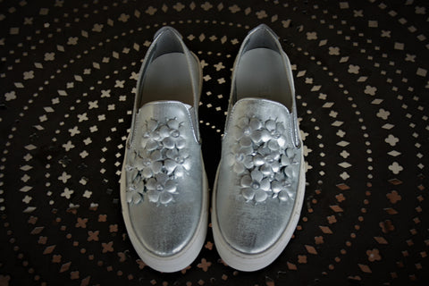 Silver Graffiti- Slip On Sneaker