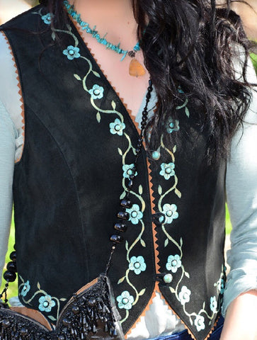 Patricia Wolf Black and Turquoise Vest