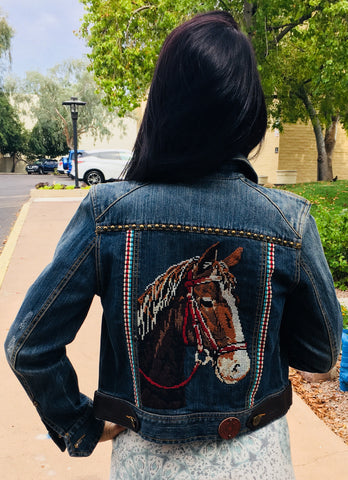 Double D Ranch Denim Jacket- Horse Stitching