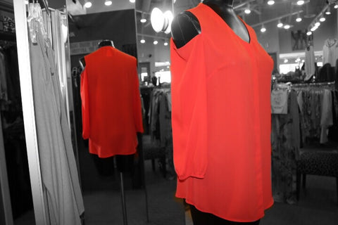 Frank Lyman - Cold Shoulder Orange Blouse