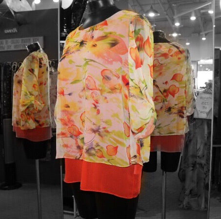 Elena Wang - Orange/Yellow Floral Top