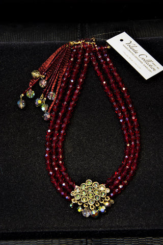 Yolanta Collection - Red Vitrael Beaded Necklace