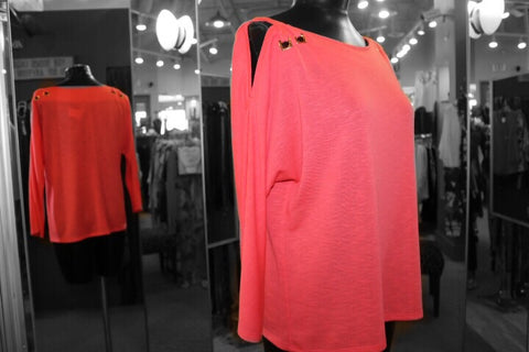Kay Celine - Open Shoulder Coral Sweater