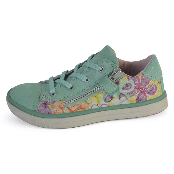 new product f181c 782ac Lurchi Girls Sanni Green Floral Leather Lace & Zip Trainers UK 9 EU 27 7US  9.5