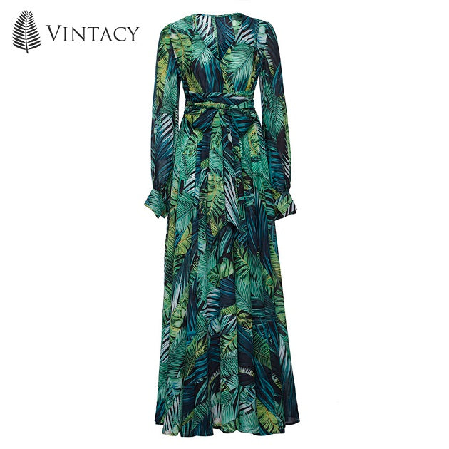 Vintacy Maxi Women Dress with Floral V-Neck Plant Print Lace-Up Ankle- 48552f54a