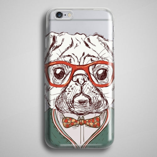 PUG Hipster iPhone X Case Clear Hipster Animal