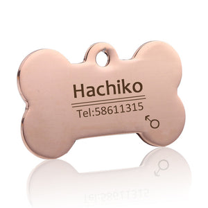 Custom Personalized Pet ID Tags - Stainless Steel Laser Engraved (Name +  Telephone)