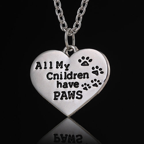 Fashion All My Children Have Paws Letters Carved Animal Lovers Pendant Necklace