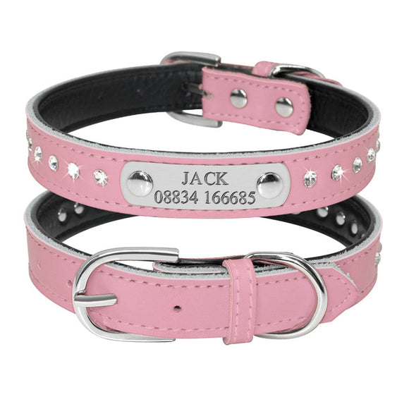 Custom Leather Dog Collars -  Adjustable Personalized Engraving