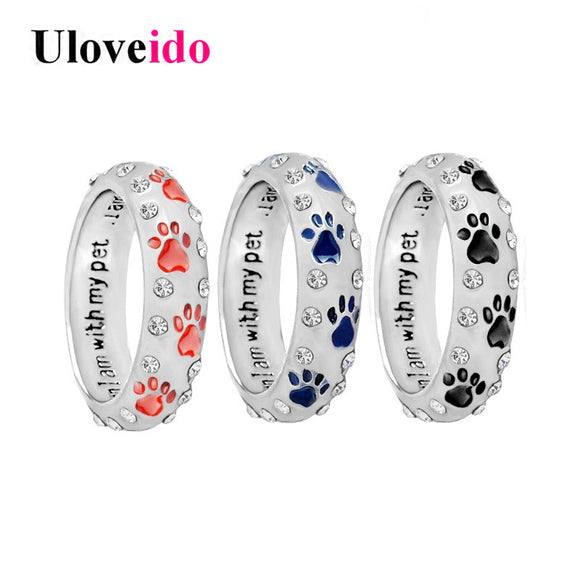 Uloveido Enamel Rings for Women Silver Color Dog Ring Female Paw Ring Bague when i am with my pet
