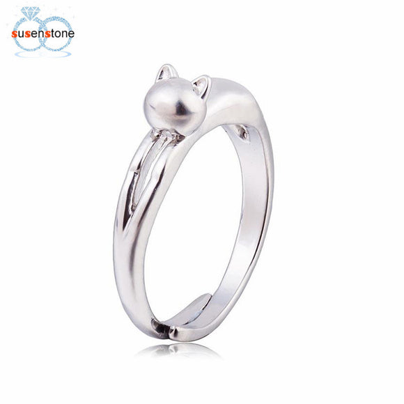SUSENSTONE Silver Plated Sweet Cute Cat Ring