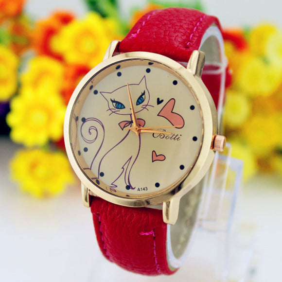 Women's Fashion Faux Leather Strap Band Cat Watch
