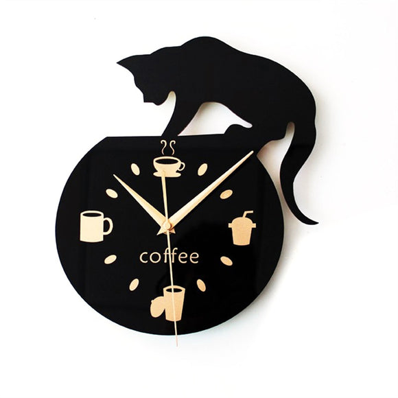 Silent Cartoon Wall Clock Cute Climbing Cat