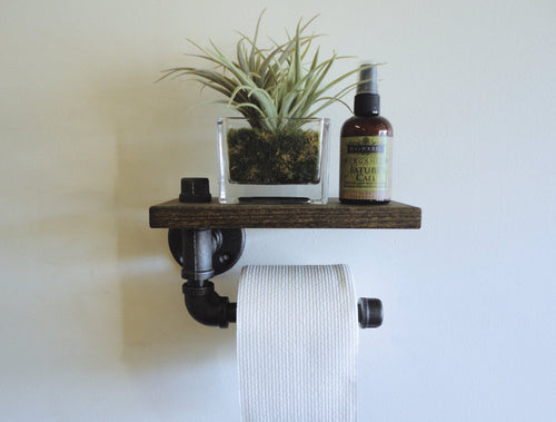 Exotic Toilet Paper Holder with Shelf - Rustic Furniture Designs
