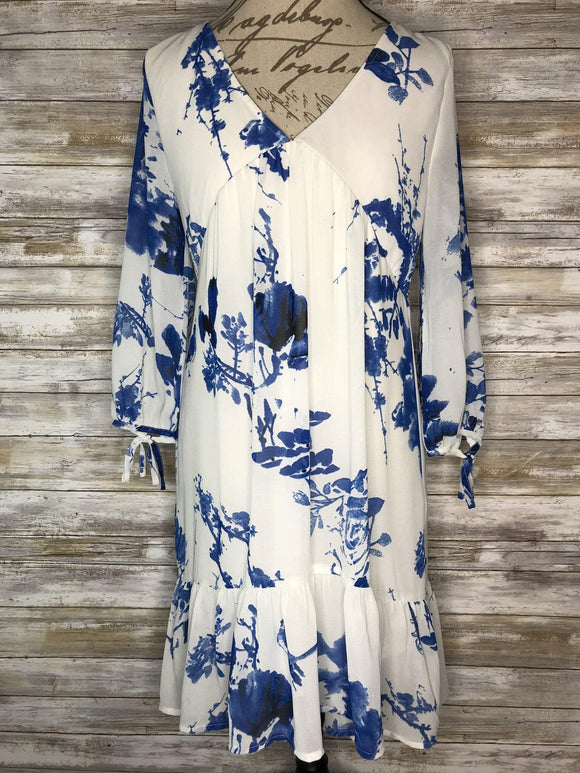 Ivory and Royal Floral Dress