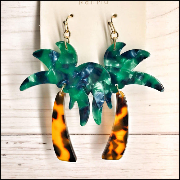 Acetate Palm Tree Earrings Sunshine & Pineapples Boutique Earrings