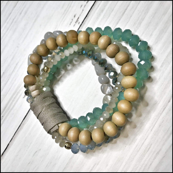 Beaded Stretch Bracelet - Color Options Sunshine & Pineapples Boutique Mint Bracelet