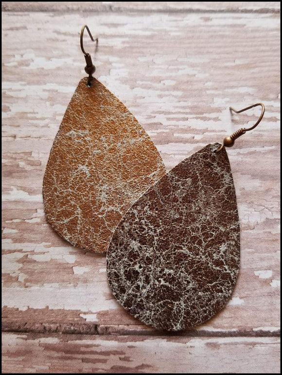 Bronze Marbled Leather Teardrop Earrings Sunshine & Pineapples Boutique