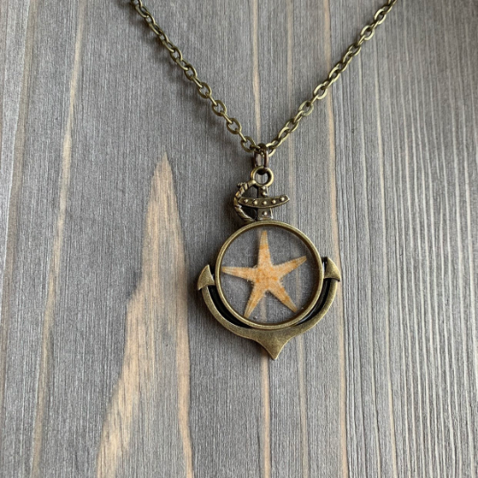 Bronze Anchor and Starfish Necklace