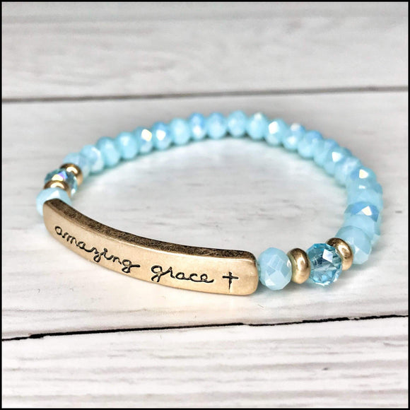 Faith Stretch Beaded Bracelets Sunshine & Pineapples Boutique Amazing Grace- Blue Bracelet