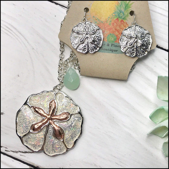 Iridescent Two-Tone Sand Dollar Pendant Necklace and Earring Set Sunshine & Pineapples Boutique Necklace